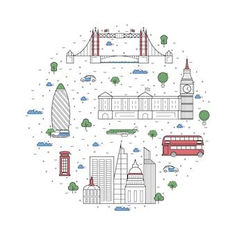 London reiseelemente im linearen stil
