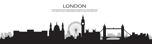 London-schattenbild-englische stadt-ansicht-fahne mit kopien-raum
