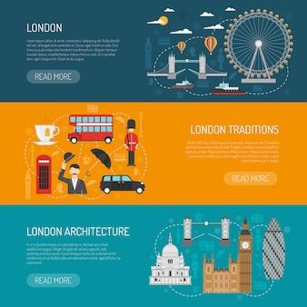London sehenswürdigkeiten flat banner set