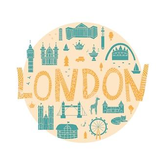 London sehenswürdigkeiten im cartoon-stil im kreis umrahmt