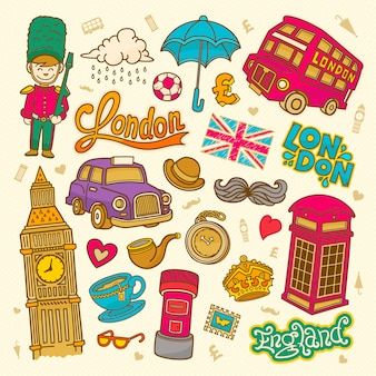 London skizze illustration gekritzel englische elemente, london symbole sammlung