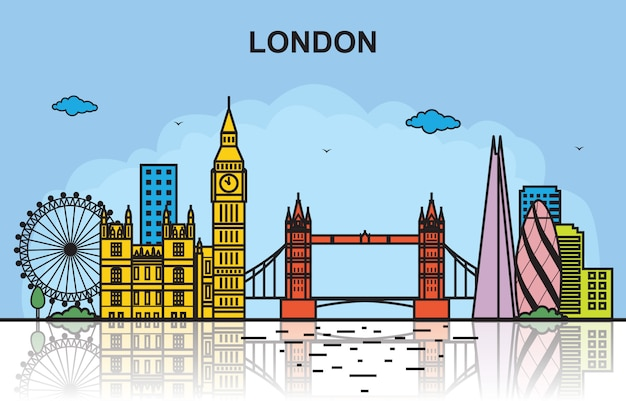 London-stadtausflug-stadtbild-skyline-bunte illustration