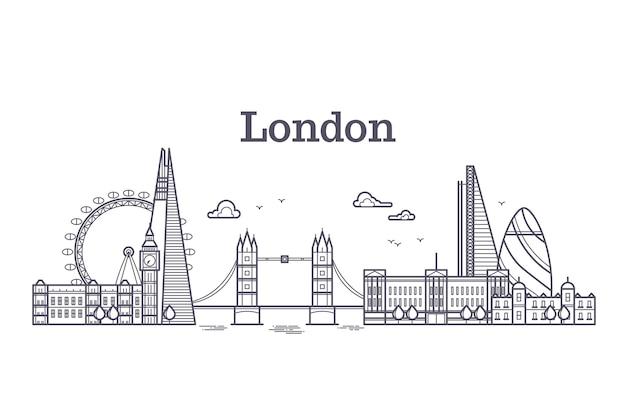 London-stadtskyline mit berühmten gebäuden, marksteinumriss-vektorillustration des tourismus england