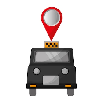 London-taxi mit stiftstandort-vektorillustrationsdesign