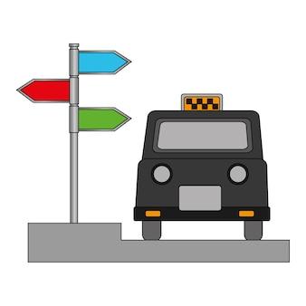 London-taxi und signage mit pfeilen