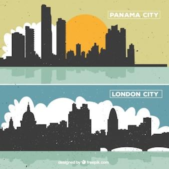 London und panama gebäuden silhouetten