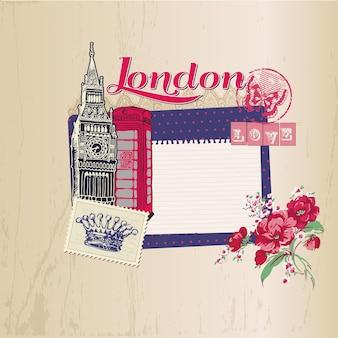 London vintage karte mit briefmarken