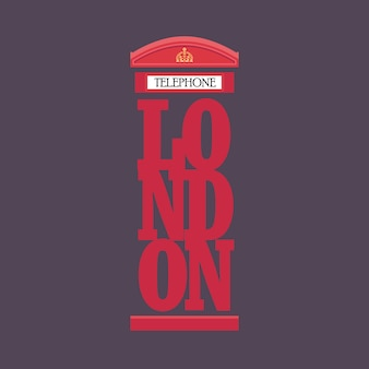 Londoner rotes telefonzelle-plakatdesign