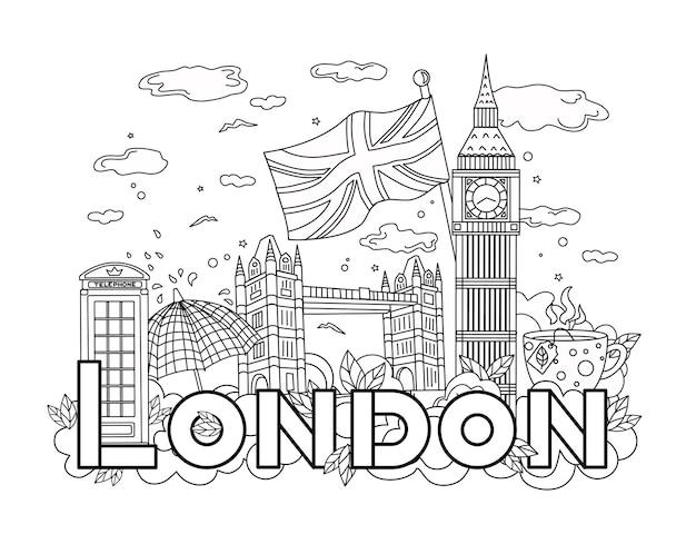 Londoner umriss. geschichte von reisen und tourismus. vektor-hintergrund. lineare abbildung. malbuch.