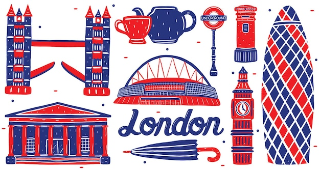 Londoner wahrzeichen im flachen design-stil