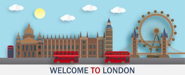 Londoner wahrzeichen im papierschnittstil.