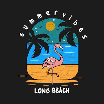 Long beach summer vibes design illustration