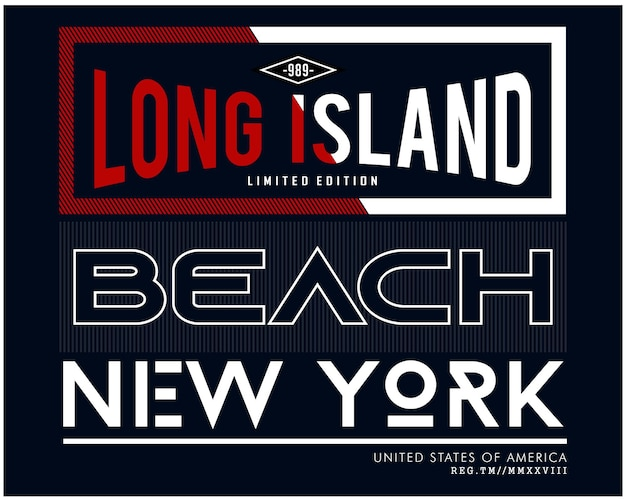 Long island typografische illustration design grafik zum drucken