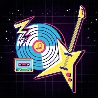 Long play und e-gitarre im stil der achtziger