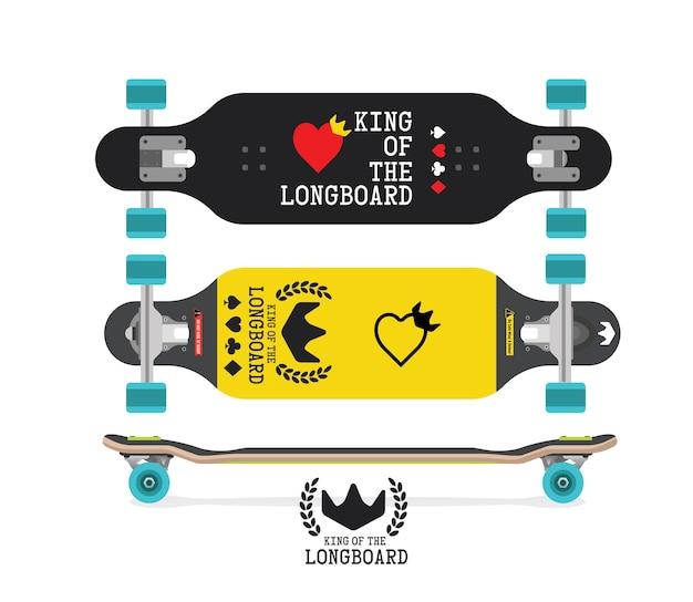 Longboard drei ansichten draufsicht, seiten- und unteransicht