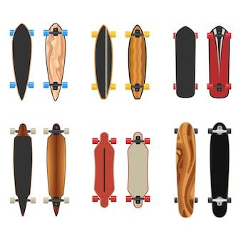 Longboards setzen zwei seiten. aktiver sportlebensstil.