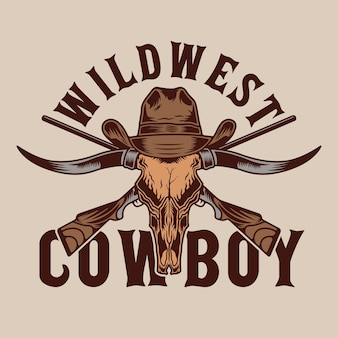 Longhorn bull und wild west cowboy guns