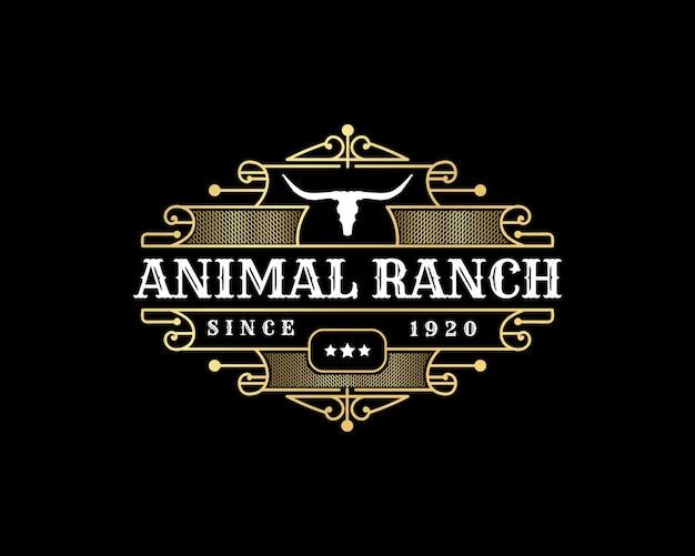 Longhorn western style vintage luxus logo mit totenkopf für tierzucht ranch metzger marke