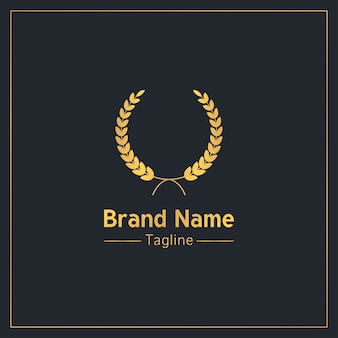 Lorbeerkranz goldene gehobene logo-vorlage