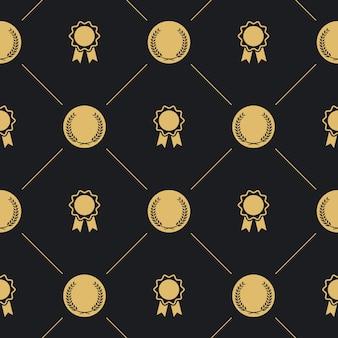 Lorbeerkranz und abzeichen nahtloses muster. hintergrund mit goldenem emblem,