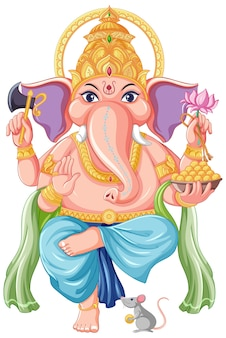Lord ganesha cartoon-stil Kostenlosen Vektoren