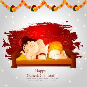 Lord ganesha illustration für glücklichen ganesh chaturthi hintergrund