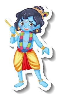 Lord krishna-kind-cartoon-charakter-aufkleber