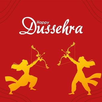 Lord ram mit pfeil und bogen gold silhouetten design, happy dussehra festival und indische themenillustration
