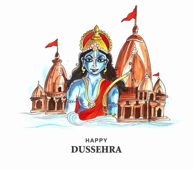 Lord rama glückliches dussehra-festival wünscht kartenaquarellhintergrund