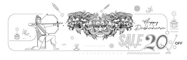 Lord rama mit pfeil, der ravana beim happy dussehra festival of india poster tötet, line art vector illustration.