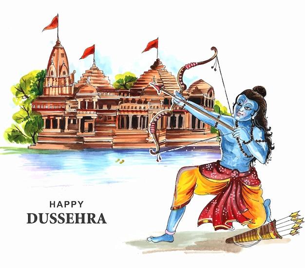 Lord rama mit pfeil, der ravana im navratri-festivalkartenhintergrund tötet