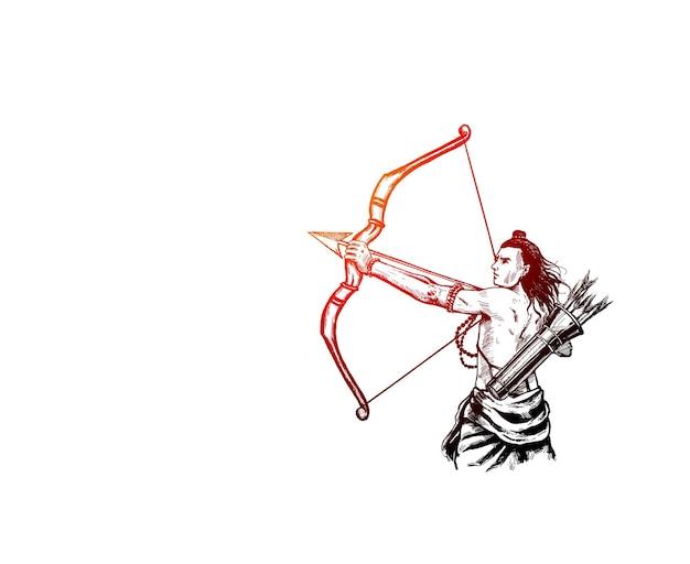 Lord rama mit pfeil mit glücklichem dussehra, vektorillustration.