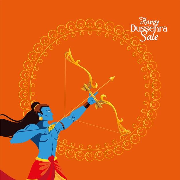 Lord widderkarikatur mit pfeil und bogen vor mandala auf orange hintergrunddesign, happy dussehra festival und indische themenillustration