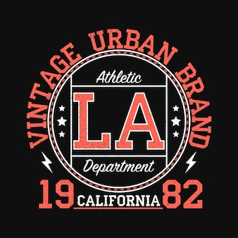 Los angeles california vintage urbane markengrafik für t-shirt originelles kleidungsdesign mit grunge