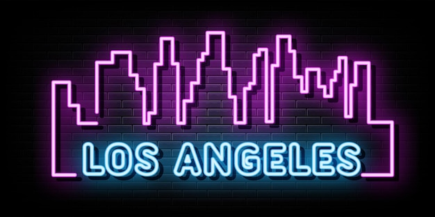 Los angeles city line leuchtreklamen vektor