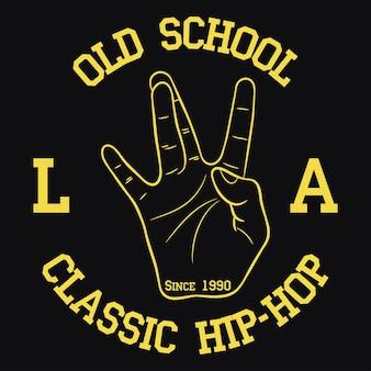 Los angeles hiphop-typografie für designkleidungs-t-shirts druck mit handgeste der westküste
