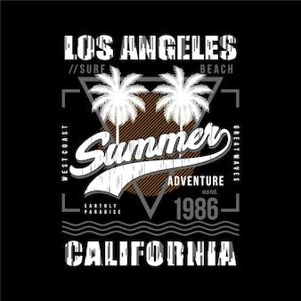 Los angeles kalifornien sommerabenteuer unbegrenzte surfen typografie t-shirt grafikvektoren