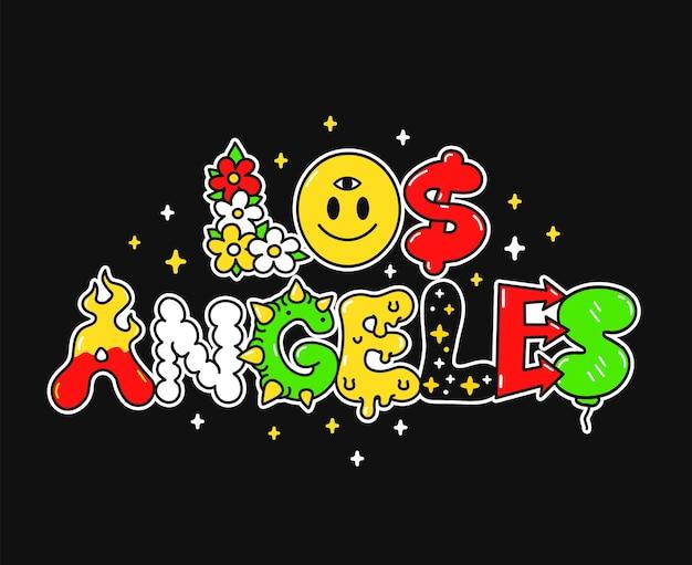 Los angeles-stadtzitat, trippy psychedelische buchstaben. vektor handgezeichnete doodle-cartoon-illustration. zitat aus der stadt los angeles. lustige trippy-buchstaben, saurer modedruck für t-shirt, posterkonzept