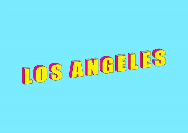 Los angeles-text mit isometrischem effekt 3d