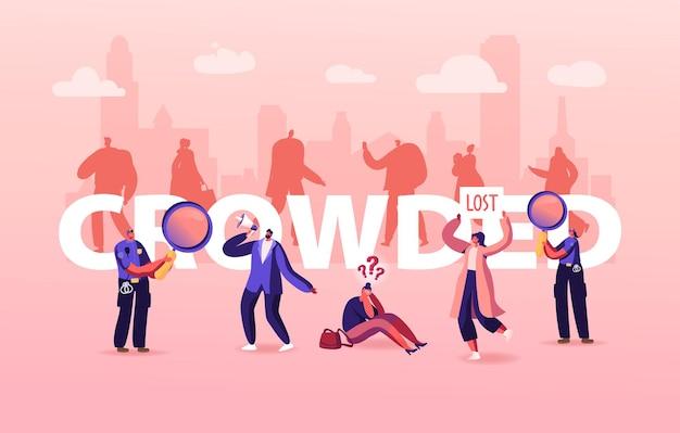 Lost in crowd illustration, großstadt-sozialproblem, menschliches verhalten in stresssituation, frustration und angst