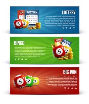 Lotterie banner mit realistischen ikonen bälle münzen ticket