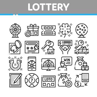 Lotterie-glücksspiel-sammlungs-ikonen eingestellt