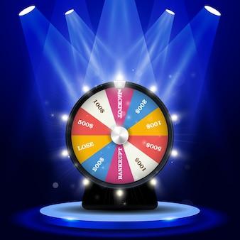 Lotterie großer gewinn - jackpot auf glücksrad, glücksspielkonzept