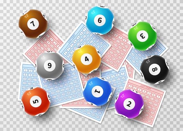 Lotteriekugeln und glückliche karten des bingos getrennt auf transparentem. sport, der vektorkonzept spielt