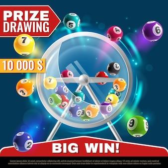 Lotteriemaschine. radtrommel mit lottokugeln im inneren, glücklicher sofortgewinn, internet-freizeit- oder bingo-spiel, realistische vektor-glücksspiel-plakatillustration