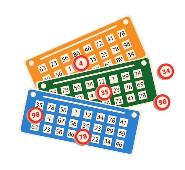 Lottoschein mit gewinnzahl-chips für lotto-glücksspiel-sportspiel isoliert.