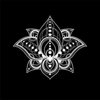 Lotus-blume mit linearer illustration des geometrischen verzierungsvektors