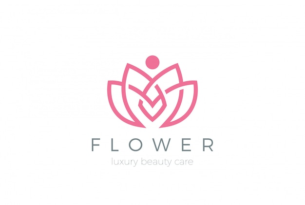Lotus flower logo symbol. linearer stil