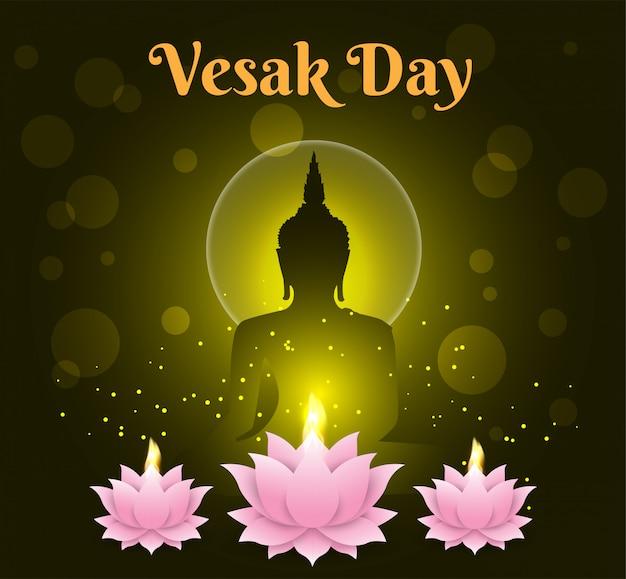 Lotus-kerze glücklicher vesak-tageshintergrund buddha auf schwarzem hintergrund
