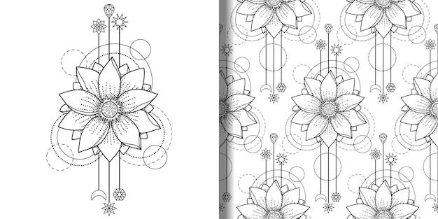 Lotus moderner abstrakter druck und nahtloses musterset